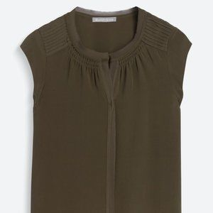 DANIEL RAINN Beacon Silk Blouse, Olive, Size L
